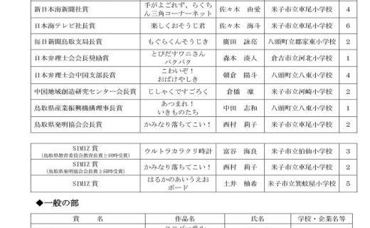 「第60回鳥取県発明くふう展」入賞作品が決定しました